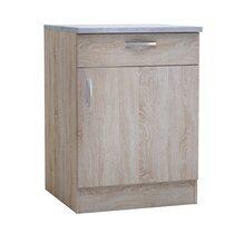 Meuble bas 1 porte et 1 tiroir 60x60x85 cm chêne et gris - LEWIS