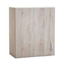 Meuble haut 1 porte 60x30x70 cm chêne et gris - LEWIS