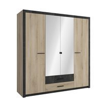 Armoire 4 portes et 2 tiroirs en chêne brossé et anthracite - ERIK