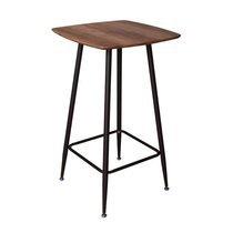 Table de bar 60x60x120 cm en bois marron et métal noir - TEKLA