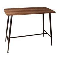 Table de bar 120x60x95,5 cm en bois marron et métal noir - TEKLA