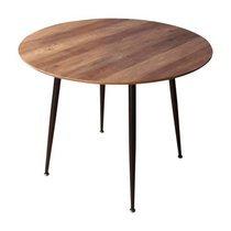 Table à manger ronde 100x73 cm en bois marron et métal noir - TEKLA