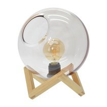 Lampe à poser boule 18x24 cm en bois naturel + ampoule