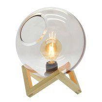 Lampe à poser boule 25x32 cm en bois naturel + ampoule