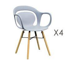 Lot de 4 chaises de repas 60x60x81 cm gris et pieds naturels - MELKY