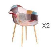 Lot de 2 fauteuils de repas 64x57x83 cm en patchwork
