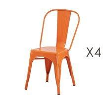 Lot de 4 chaises 35x35x84 cm en métal orange - ARTY