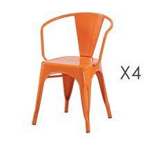 Lot de 4 fauteuils 36x36x73 cm en métal orange - ARTY