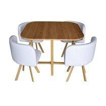Ensemble table à manger carrée 100 cm + 4 chaises blanches
