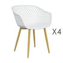 Lot de 4 fauteuils 61x56x78 cm blanc et pieds naturels - SALMA