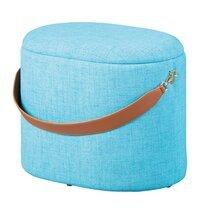 Pouf avec rangement 42x30x36 cm en tissu bleu turquoise - DILIA