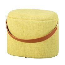 Pouf avec rangement 42x30x36 cm en tissu jaune - DILIA