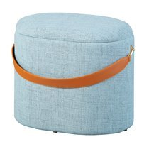 Pouf avec rangement 42x30x36 cm en tissu bleu-gris - DILIA