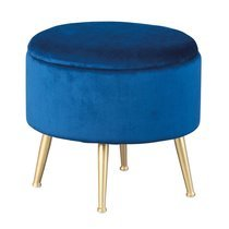 Pouf avec rangement 41x41x38 cm en velours bleu - DILIA