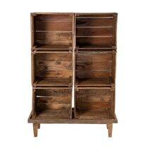 Bibliothèque 6 niches 95x36x136 cm en bois exotique - ALMON