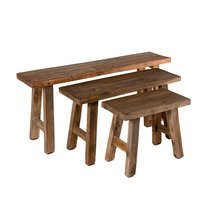 Lot de 3 bancs 118/85/52 cm en bois exotique - ALMON
