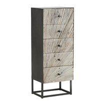 Chiffonnier 5 tiroirs 45x35x110 cm en bois recyclé et métal - VAUVERT