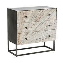 Commode 3 tiroirs 75x38x75 cm en bois recyclé et métal - VAUVERT