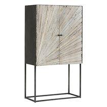 Buffet haut 90x40x160 cm en bois recyclé et métal - VAUVERT