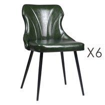 Lot de 6 chaises 48x55x76 cm en PU vert - NAVY
