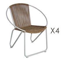 Lot de 4 fauteuils en imitation osier naturel et acier blanc