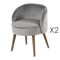 Lot de 2 fauteuils 54x54x64 cm en velours gris - HONY