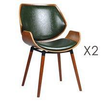 Lot de 2 chaises 51,5x57,5x84 cm vert et marron - NAVY