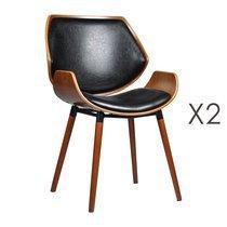Lot de 2 chaises 51,5x57,5x84 cm noir et marron - NAVY