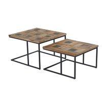 Lot de 2 tables basses carrées 53 cm en teck et métal