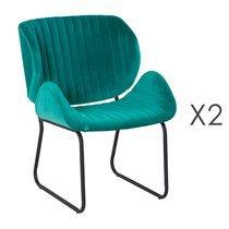 Lot de 2 chaises repas 65,5x58x82,5 cm en velours turquoise - KATY
