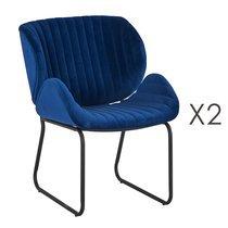 Lot de 2 chaises repas 65,5x58x82,5 cm en velours bleu - KATY