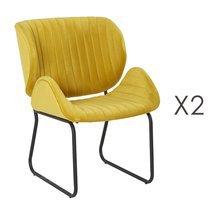 Lot de 2 chaises repas 65,5x58x82,5 cm en velours jaune - KATY