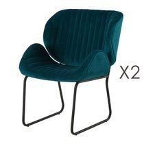 Lot de 2 chaises repas 65,5x58x82,5 cm en velours bleu canard - KATY