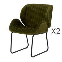 Lot de 2 chaises repas 65,5x58x82,5 cm en velours vert - KATY