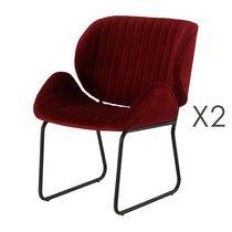 Lot de 2 chaises repas 65,5x58x82,5 cm en velours bordeaux - KATY