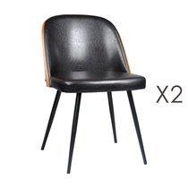 Lot de 2 chaises 48,5x55x76 cm en PU noir - NAVY