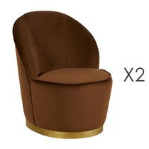Lot de 2 fauteuils 58x58x69 cm en velours marron - TIAGO