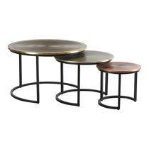 Lot de 3 tables basses rondes 75/60/45 cm en acacia et métal