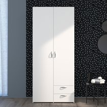 Armoire 2 portes et 2 tiroirs blanc - KELSY