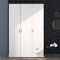 Armoire 3 portes et 2 tiroirs blanc - KELSY