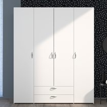 Armoire 4 portes et 2 tiroirs blanc - KELSY
