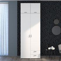 Armoire 2 + 2 portes et 2 tiroirs blanc - KELSY