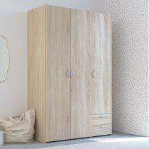 Armoire 3 portes et 2 tiroirs chêne sonoma - KELSY