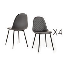 Lot de 4 chaises repas 42x45x86 cm en PU noir et gris