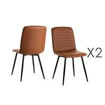 Lot de 2 chaises repas 46x46x89 cm en PU camel