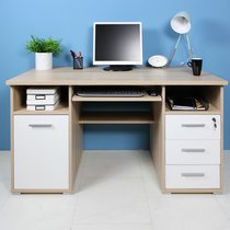 Bureau 1 porte et 3 tiroirs 145x70x75 cm chêne sonoma et blanc - MOKA