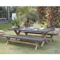 Ensemble table de jardin + 2 bancs en  béton et pieds en acacia - BETTY