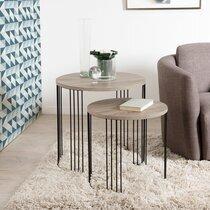 Lot de 2 tables d'appoint en bois et  piétement en métal - LASTY