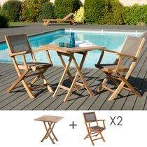 Ensemble table + 2 fauteuils pliables en teck et textilène - GARDENA