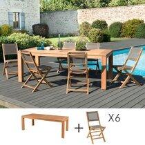 Ensemble table pieds carrés + 6 chaises teck et textilène  - GARDENA